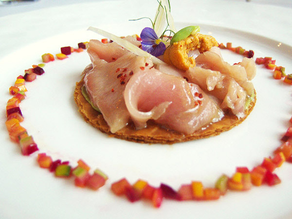 Hamachi, sea urchin and fennel tart