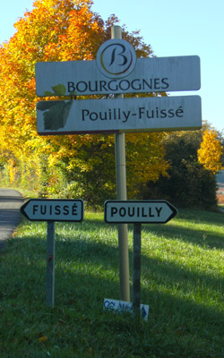 Road signs to Pouilly and Fuisse