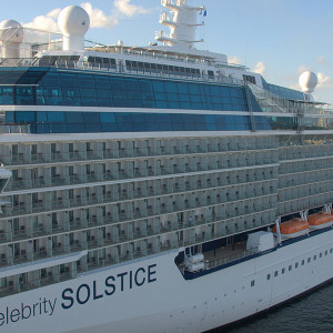 The Celebrity Solstice at mooring