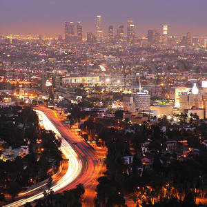 a view of downtown LA at dusk from Mulholland Drive